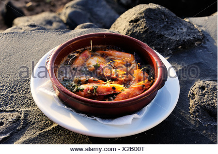 Gambas al ajillio, shrimps in garlic oil, tapas, La Palma, Canary Islands, Spain, Europe, PublicGround - Stock Photo