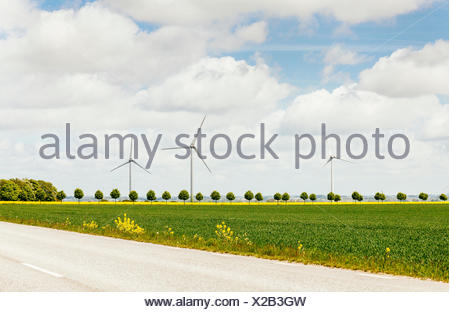 Wind turbines on field against cloudy sky - Stock Photo