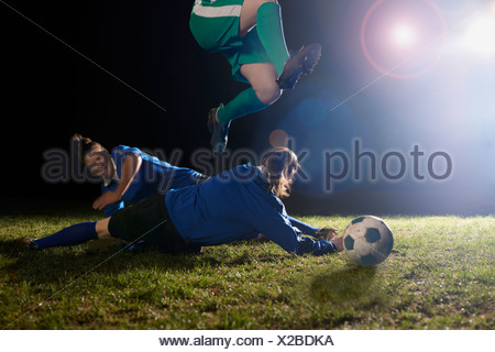 Female soccer players at practice - Stock Photo