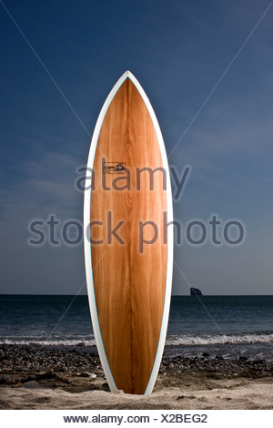 Smooth wooden surfboard standing on end at waters edge - Stock Photo