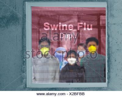 People outside Swine Flu department in a hospital, H1N1 - Stock Photo