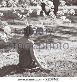 Rear view of young woman sitting on grass - Stock Photo
