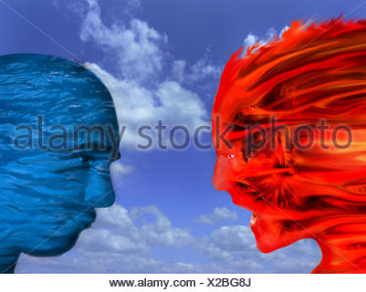 blue discussion listen cold face fantasy argue active heat wet fire - Stock Photo