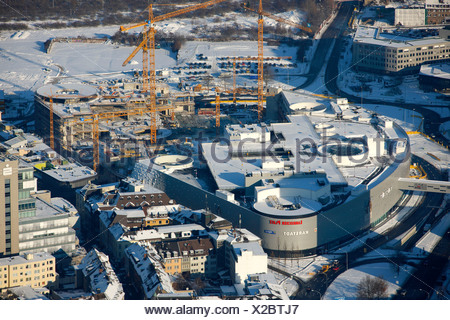 Aerial photo, Limbecker Platz, Limbecker Square, ECE, shopping center, snow, Berliner Platz, Berliner Square, Essen, Ruhrgebiet - Stock Photo