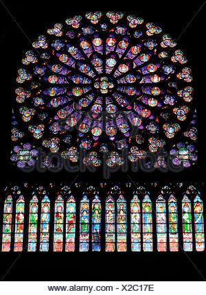 Rose window, stained glass window, Cathedral of Notre-Dame de Paris, Ile de la Cite, Paris, France, Europe - Stock Photo