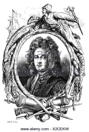 Mordaunt, Charles, 1658 - 25.10.1735, 3rd Earl of Peterborough, English politician and general, portrait, wood engraving, 19th century, - Stock Photo