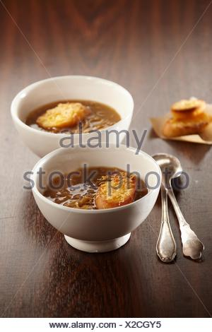 Caramelized Onion Soup (step by step) - Stock Photo