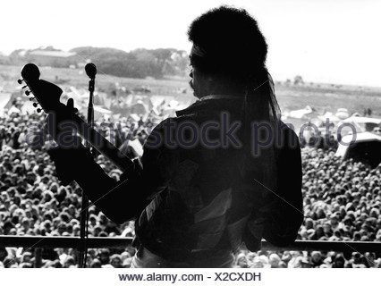 Hendrix, James Marshall 'Jimi' 27.11.1942 - 18.9.1970, American musician, on stage, Fehmarn, 1960s, 60s, , Additional-Rights-Clearances-NA - Stock Photo