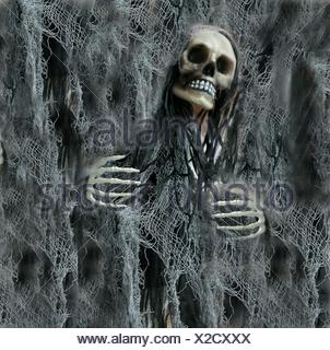 Digital Composite Image Of Human Skull And Net - Stock Photo