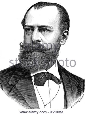 Wolff, Julius, 16.9.1834 - 3.6.1910, German poet, portrait, wood engraving, late 19th century, Additional-Rights-Clearances-NA - Stock Photo