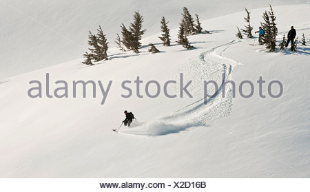 A skier and snowboarder watch as a fellow backcountry skier starts a descent in Turnagain Pass, Alaska - Stock Photo