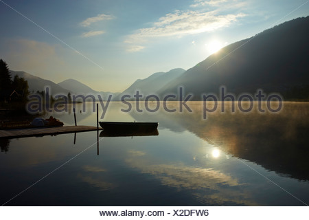 Morning mood at Weissensee Lake, Carinthia, Austria, Europe - Stock Photo