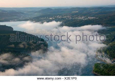 Aerial photo, Langscheid, Sorpesee Lake, Sundern, Hochsauerlandkreis, Sauerland, North Rhine-Westphalia, Germany, Europa - Stock Photo