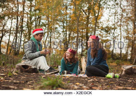 Young friends in forest wearing Santa hats and crowns - Stock Photo
