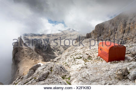 a view of the camp  called Fiamme Gialle on the top of Pala Group, Trento province, Trentino Alto Adige, Italy, Europe, - Stock Photo