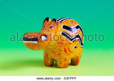 carved miniature soapstone hippopotamus - Stock Photo