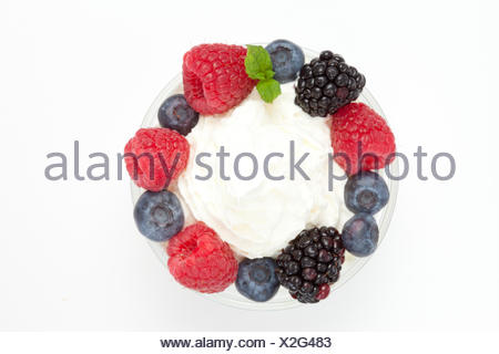 Circle of berries against a white blackground - Stock Photo