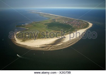 Aerial view, Langeoog Island with protected landscape area Flintduene, East Frisian Islands, Lower Saxony, Germany, Europe - Stock Photo