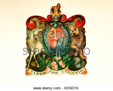 Hanoverian Royal Arms, 1817, Thornham, Norfolk, heraldry lion unicorn England UK British royalty coat of arms heraldic - Stock Photo