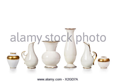 Antique White Porcelain Vases Collection Isolated On White