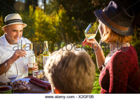 Family having a picnic in the garden, Munich, Bavaria, Germany - Stock Photo
