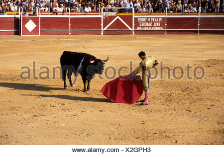 Bullfight at the Plaza de Toros in Calpe, Costa Blanca, Spain, Europe - Stock Photo
