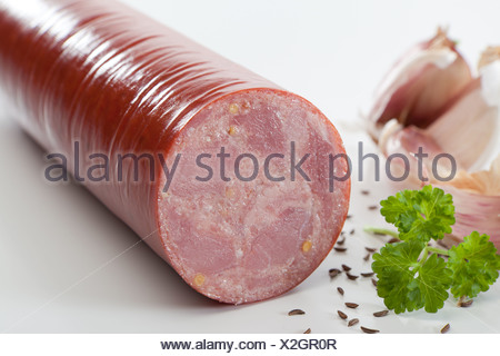Riedlingen, Germany, beer sausage - Stock Photo