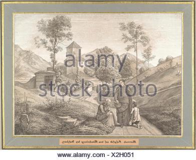 Mittwoch from Sieben Gegenden aus Salzburg und Berchtesgaden Geordnet nach den sieben Tagen der Woche, verbunden durch zwey allegorische Blätter - Stock Photo