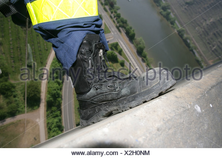 Life-saver brogue during an exercise in great height - Stock Photo