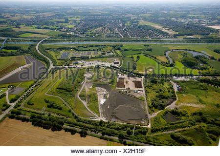 Aerial view, landfill, Hamm, Ruhr area, North Rhine-Westphalia, Germany, Europe - Stock Photo