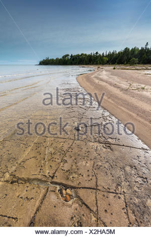 Shores of Misery Bay in Misery Bay Provincial Park, Manitoulin Island, Ontario, Canada - Stock Photo