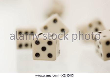 Close up of tumbling dice - Stock Photo