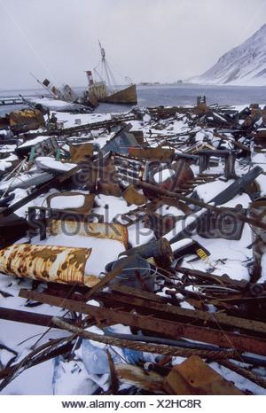Grytviken South Georgia Island Abandoned whaling station Grytviken South Georgia - Stock Photo