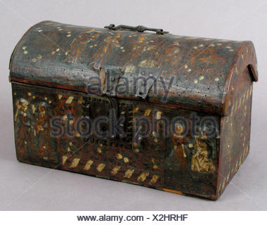 Coffret. Date: 15th century; Culture: French; Medium: Leather, (stamped and tooled) with polychromy, metal fittings; Dimensions: Overall: 8 3/8 x 13 - Stock Photo