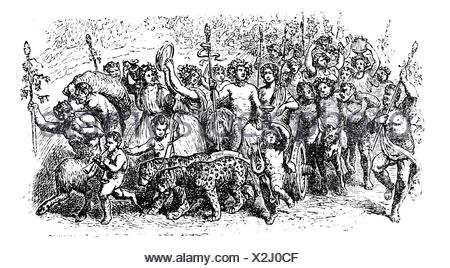 Bacchanalia, a wild and mystic festivals of the Greco-Roman god Bacchus vintage engraving  Old engraved illustration of the people taking part in the - Stock Photo