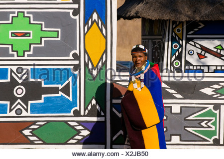Ndebele woman wearing traditional dress, Botshabele Mission Station, Limpopo, South Africa, Africa - Stock Photo