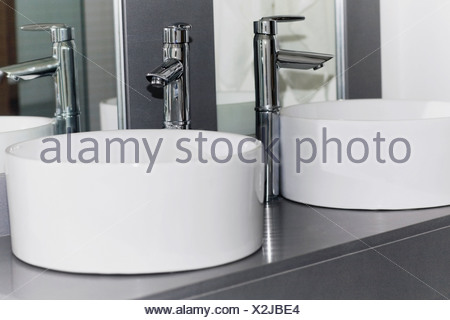 Wash bowls in the bathroom - Stock Photo