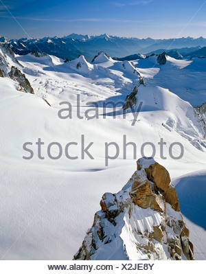 Vallee Blanche viewed from Mt. Aiguille du Midi, Savoy Alps, France, Europe - Stock Photo