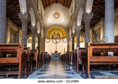 Israel, West Bank, Nazareth, St. Joseph's Church, interior, central nave, altar, religion - Stock Photo