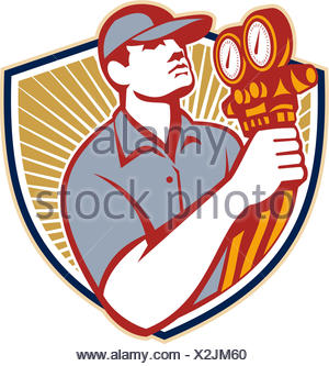 Illustration of a refrigeration and air conditioning mechanic holding a pressure temperature gauge front view set inside shield on isolated on white background done in retro style - Stock Photo