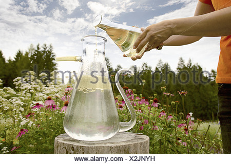 Worker pouring chemicals in field - Stock Photo