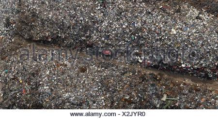 Directly above view of scrap metal yard, Duisburg, North Rhine-Westphalia, Germany - Stock Photo