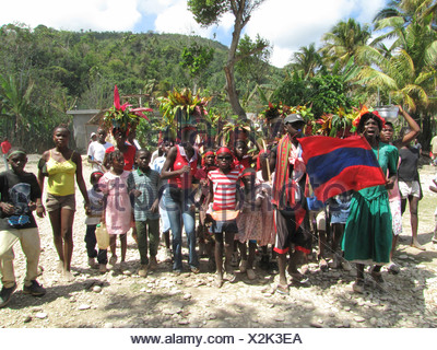 Local population celebrating carneval with traditional costumes, Haiti, Grande Anse, Abricots - Stock Photo