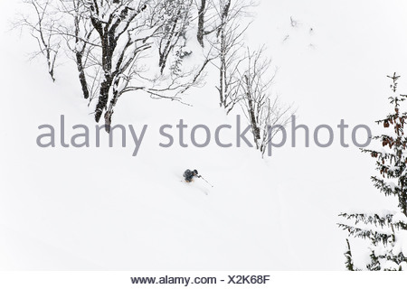 Man downhill skiing, Laliderer Scharte, Risstal, Tyrol, Austria - Stock Photo