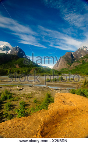 Eagle River as seen from the perch in Chugach State Park, Southcentral Alaska, Summer - Stock Photo