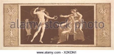 Apollon couronnant les arts (Apollo Crowining the Arts), from Recueil de Différentes Compositions Frises et Ornements dessinées et gravées à la - Stock Photo