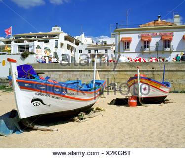 old Fisherboats near on the beach of Algarve, Portugal, Algarve, Albufeira - Stock Photo