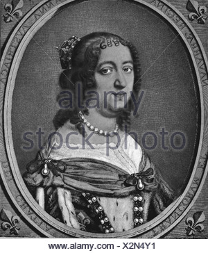 Anne of Austria, 22.9.1601 - 20.1.1666, Queen of France since 1615, wife of Louis XIII, portrait in oval, copper engraving by Antoine Masson, 17th century, Artist's Copyright has not to be cleared - Stock Photo