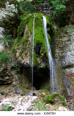 Tannegger Waterfall with its bizarre tufa formation in the Wutach Gorge Nature Reserve, Black Forest, Baden-Wuerttemberg - Stock Photo