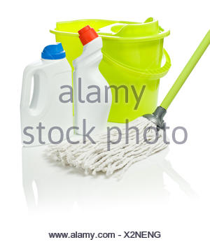 bucket and mop with cleaners - Stock Photo